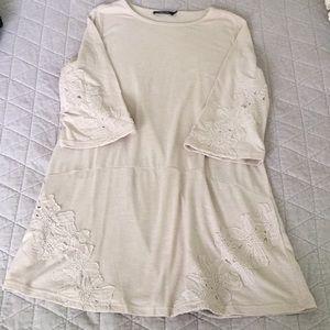Doe & Rae appliqué Cream Tunic Dress L